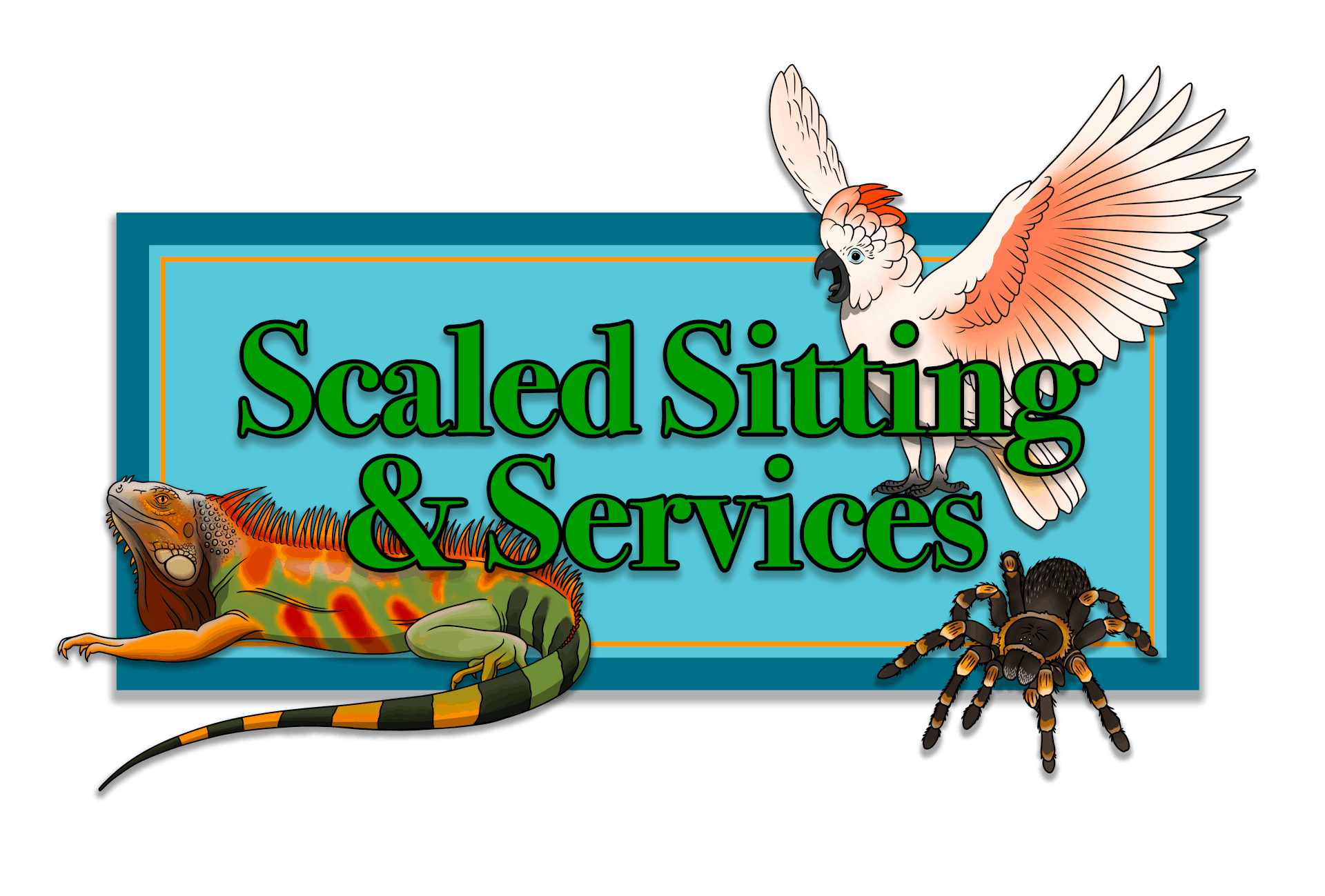 Business Logo. Green bold text, green iguana lower left corner, cockatoo with open wings in upper right corner and a tarantula image lower right corner, logo has blue background